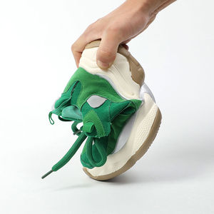 Image 5 - נשים של ירוק סניקרס אופנתי לנשימה ריצה נעלי שמנמן נעלי אבא עבה תחתון טריז עקב גבוהה נעליים יומיומיות