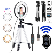 10inch Photo Ringlight Led Selfie Ring Light Phone Tripod Holder Bluetooth Remote Lamp Photography Fill Light Youtube Live
