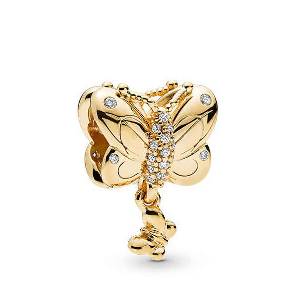 Fresh Style Cute Animal Butterfly Letters Key Crystal Beads Charms Fit Pandora Bracelets DIY Trinket for Women Girl Berloques