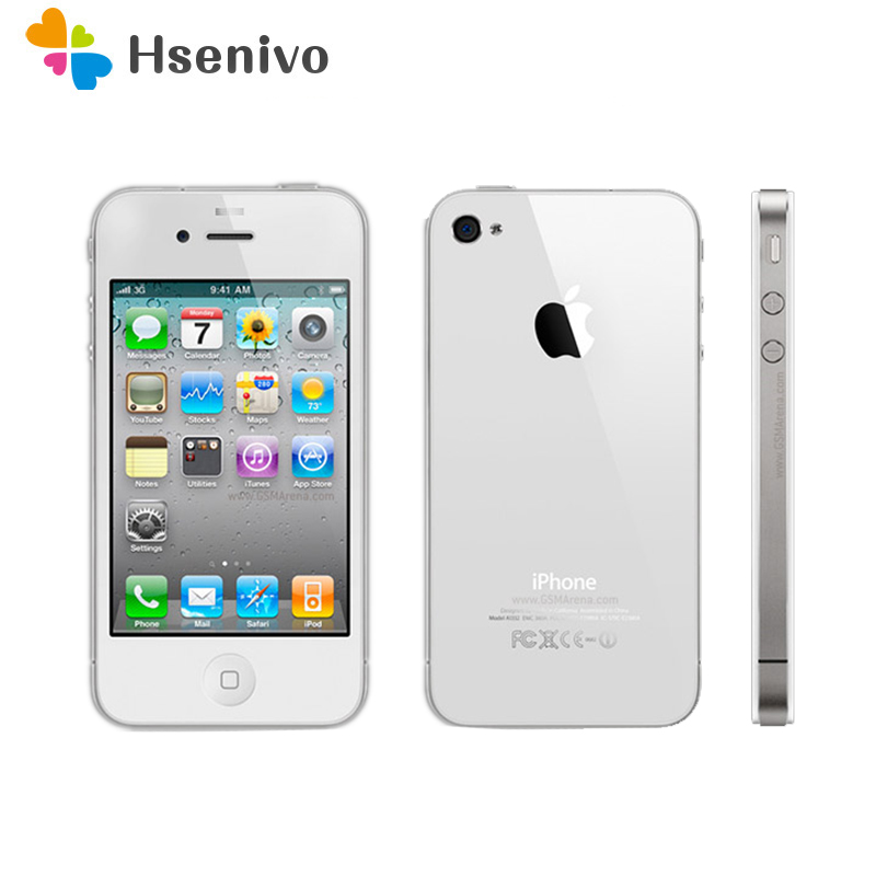 100% Original Unlocked Apple iPhone 4 Phone 8GB ROM Dual core 3.5 inch GSM WCDMA 3G WIFI GPS 5MP Camera Used apple mobile phone|Cellphones| |  - title=