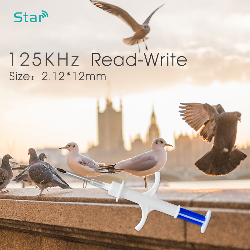 125KHz 2.12X12MM FDX-A Animal Microchip Syringe ISO11784/785 Standard T5577 Glass ID Tag With 10Digit Read Write Number For Pet