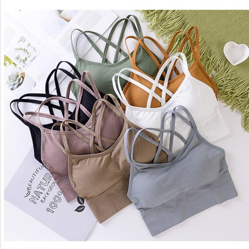 Beauty Back Sports Bra Women Padded Sports Top Vest Tops Shock-Proof Gathering High-Intensity Yoga Bra Cotton Underwear Fitness