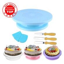 Bandeja giratoria de plástico para hornear, bandeja giratoria antideslizante, soporte para pastel, mesa giratoria de cocina