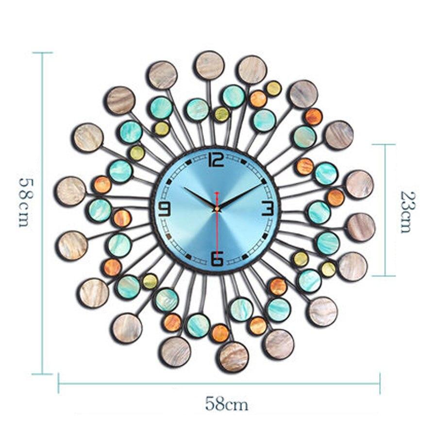 Reloj de pared de Metal grande diseño moderno sala de estar decoración de hierro Mediterráneo relojes de lujo Reloj de pared decoración del hogar silencioso 58 cm - 6