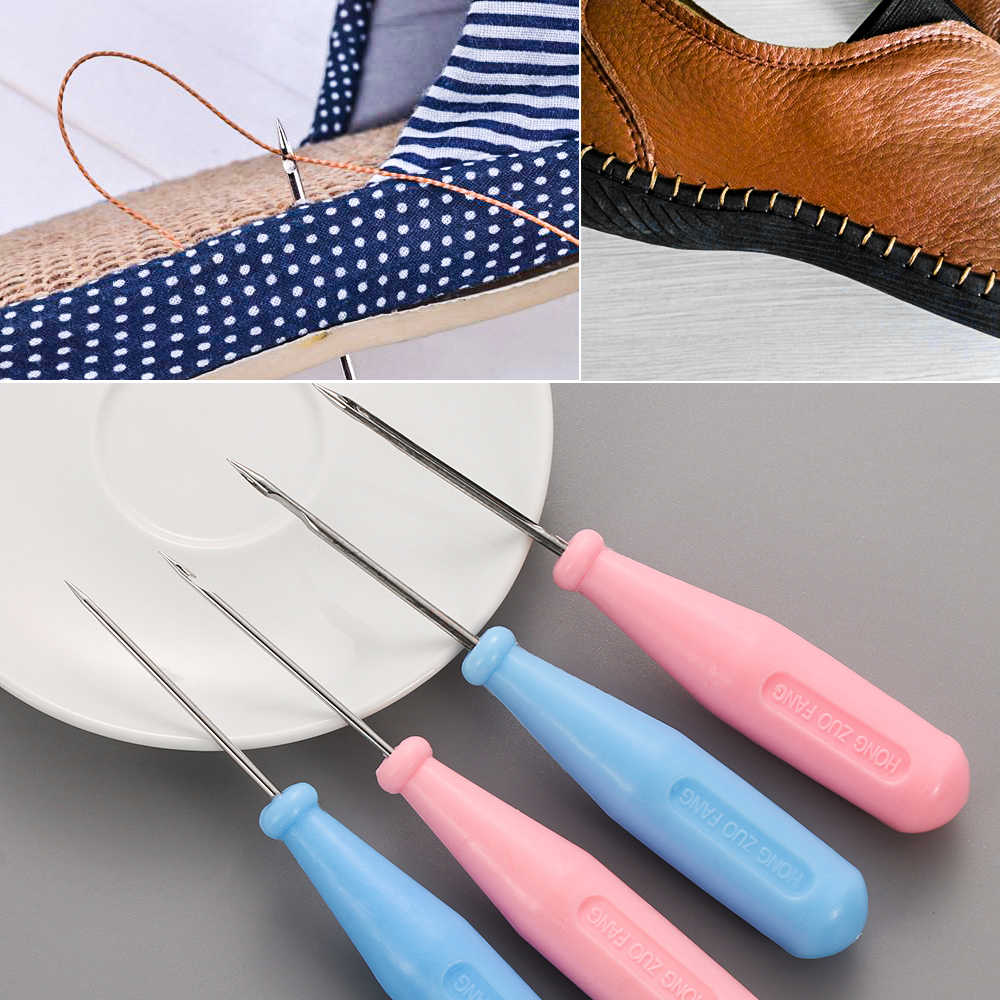 1PC Steel Stitcher Sewing Awl Shoes Bags Hole Hook Plastic Handle Cone Needle Shoe Repair Needles DIY Crafts Leather Tool