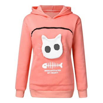 2019 winter women hooded sweatshirts Women s Sweatshirt Animal Pouch Hood Tops Carry Cat Breathable