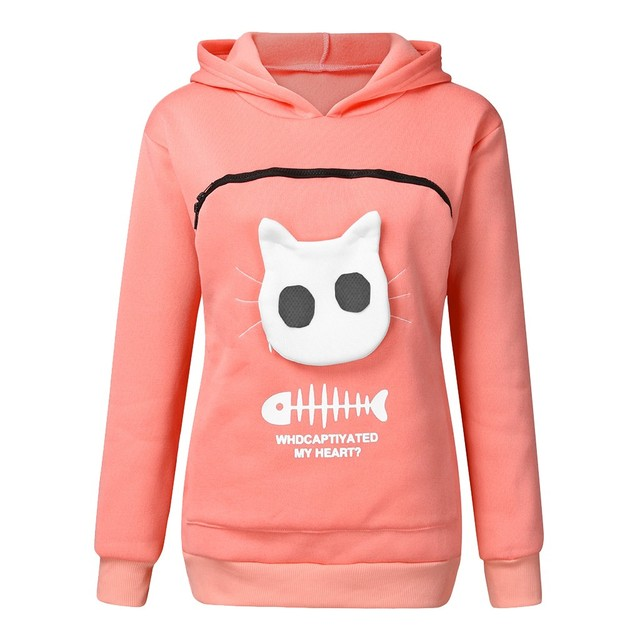 2019 winter women hooded sweatshirts Women s Sweatshirt Animal Pouch Hood Tops Carry Cat Breathable Pullover