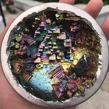 Irregular rare halo quartz rainbow bismuth mineral metal, high purity mineral rocks, crystal specimens, home metal decoration(China)