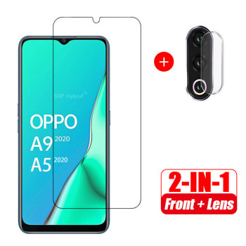 """2 in 1 Screen Protector Tempered Glass + Camera Protective Glass For OPPO A9 2020 A5 2020 oppo a9 a5 2020 6.5"""" inch Glass"""