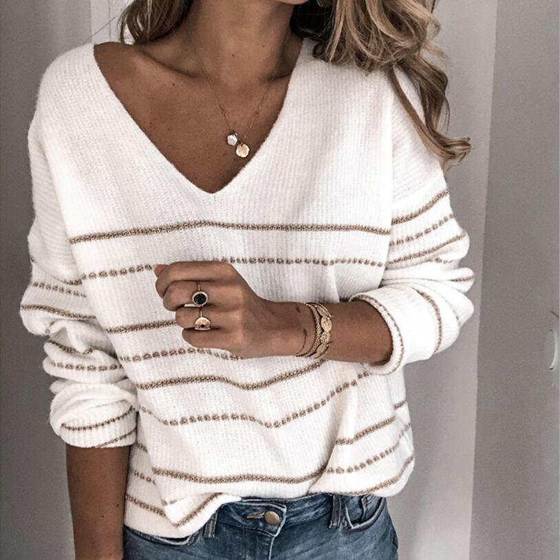 Sweater Women Winter Thin Pullover Knit Sweater Women Autumn Striped Female Clothes Sueter Mujer Invierno 2019