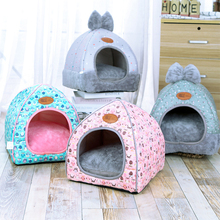 Pet Dog House Foldable Bed With Mat Soft Winter Puppy Sofa Animal Cushion House Kennel Nest Dog Cat Bed Small Medium Dogs
