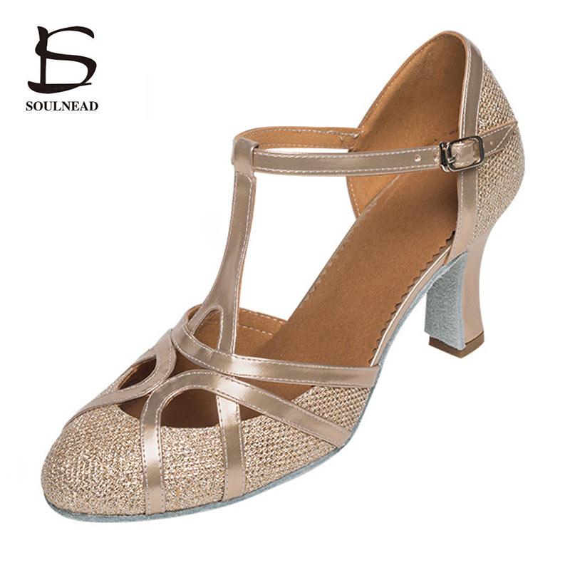 Women Closed Toe Dance Shoes Glitter Latin Salsa Dance Shoes High Heels Ballroom Dancing Shoes For Woman Wholesale Lady Sandals