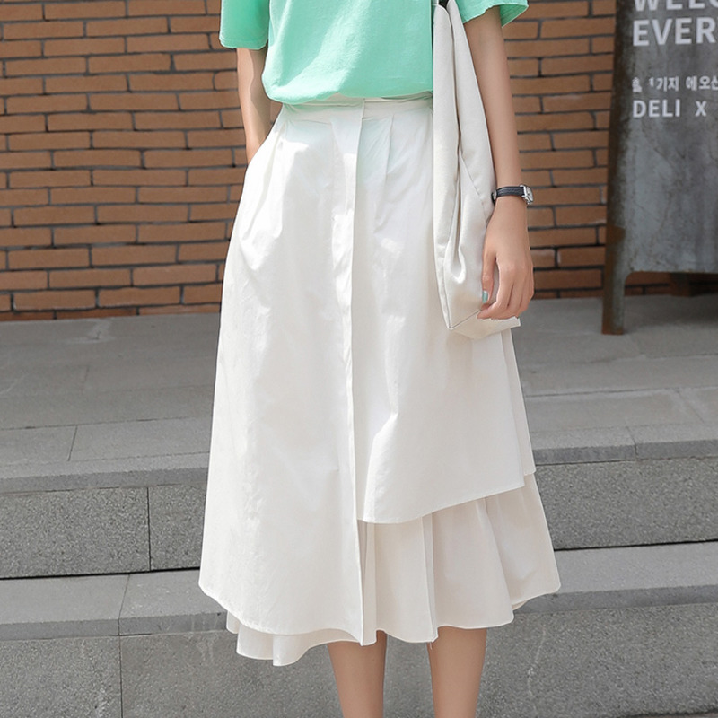 LANMREM White High Waist Large Pocket Double Layer Irregular Woman A Word Skirt Casual Simple Fashion 2020 Autumn New TV591