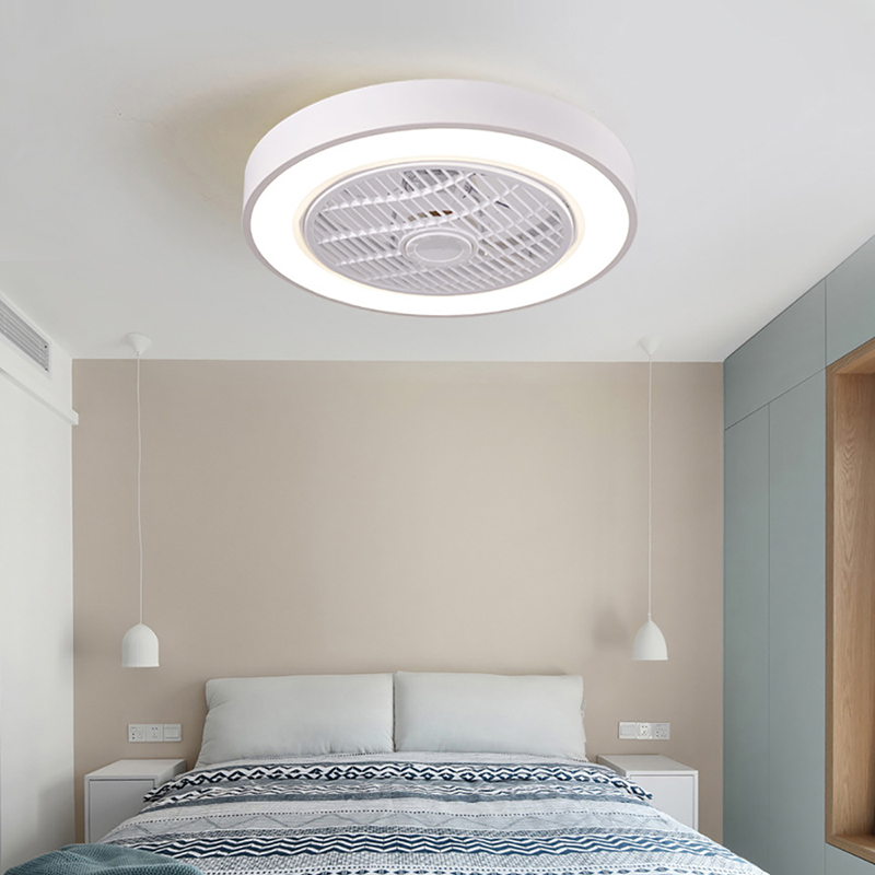 30w 50cm Luz Ventilador de Teto Inteligente com Controle Remoto 220v Telefone Celular Wi-Fi Interior Home Decor Ventilador Luz Moderna Lâminas de Iluminação LED Lâmpada Circular Lanterna ABS 3 níveis de dimerização par