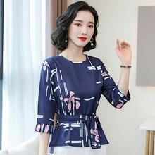 Coreano seda Blusas de Mujeres de blusa, polera Floral mujer mitad manga camisa de seda, Tops de talla grande Blusas Femininas Elegante
