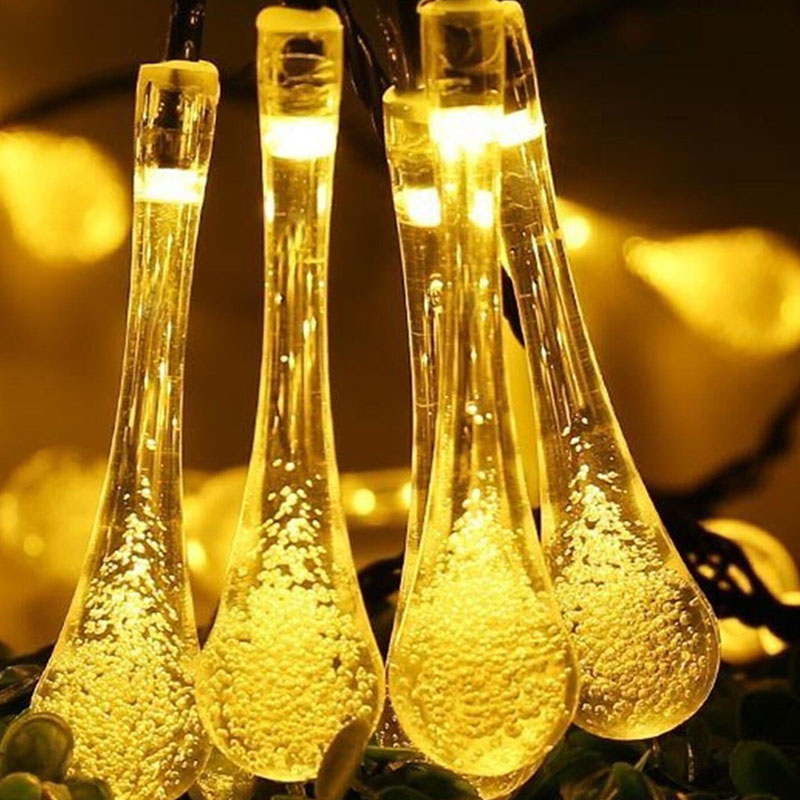 30LED Solar Light String Outdoor Waterproof Water Drop Fairy Lights Decoration For Christmas Garden Party Lighting