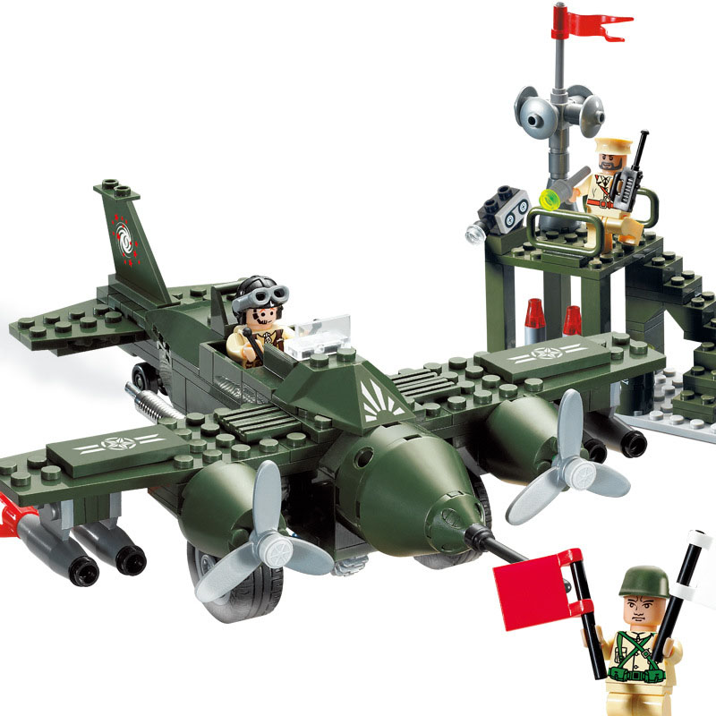 Models building toy compatible with lego 810 Military Military Air Force Plane Command Center 225pcs Building Blocks