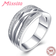 MISSITA 100% 925 Sterling Silver Chic Twisted Hollow Rings for Women Wedding Gift with Zircon Brand Jewelry anillos mujer