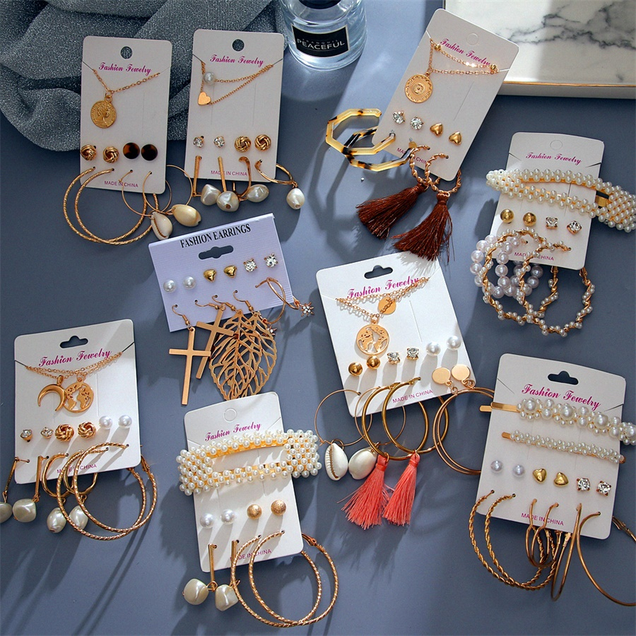 VKME New Bohemian Pearl Drop Earrings For Women Leather Case Tassel Pendant Earring Set 2020 Gold New Crystal Jewelry Gift