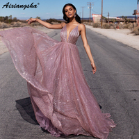 Bling Evening Dresses Sexy Spaghetti Straps Aline Backless Saudi Arabic Special Occasion Evening Formal Prom
