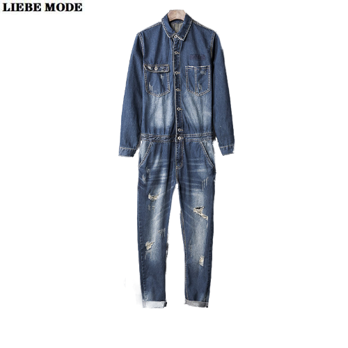 2020 Long Sleeve Ripped Jeans Jumpsuit For Men Work Wear Denim Bib Overall Mens Vintage Romper Male Retro One Piece Jumpsuits