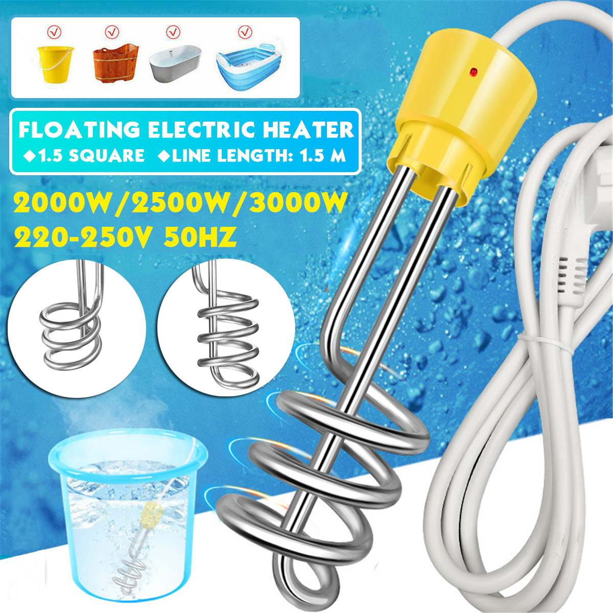 2000W/3000W Electricity Immersion Water Heater Element Boiler Portable Electric Water Heating rods for Inflatable Swimming Pool(China)