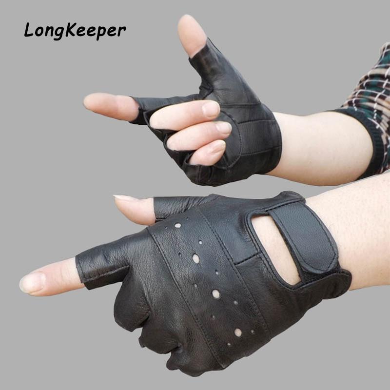 Longkeeper Men Genuine Leather Gloves Sport Driving Slip-resistant Luvas Half Finger Sheep Leather Fingerless Gym Fitness Gloves