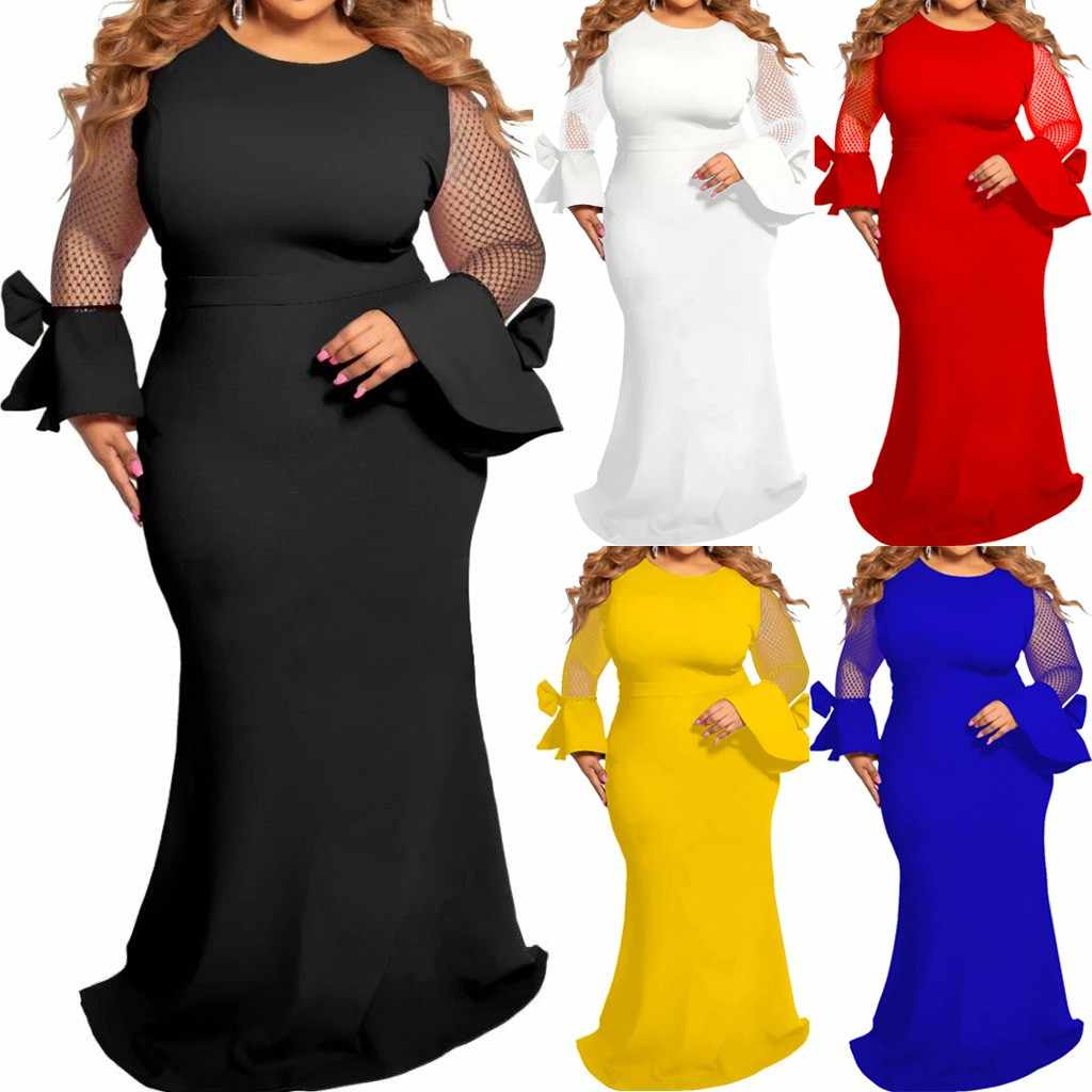 Casual Solid Sheath dress women Fashion Casual Party Dress Plus Size Long Mesh O-Neck Long Sleeve Dress vestidos платье женское