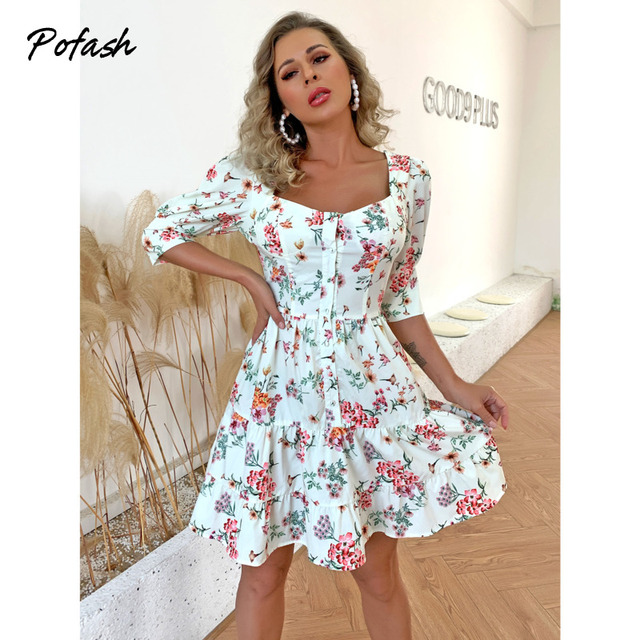 Pofash 2021 Floral Print Mini Dresses For Women Half Sleeves Patchwork Button Summer Dress Backless Ruffle Hemline Sexy Vestidos 4