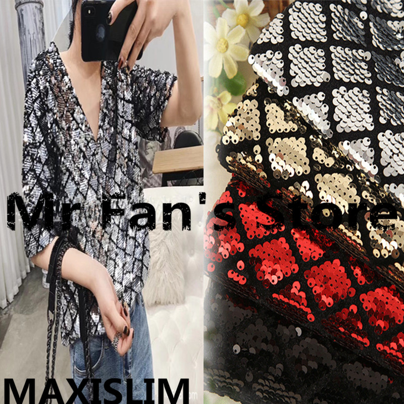 DIY High Quality 5MM Diamond Flannel Sequin Fabric For Important Occasion Fashion Sequins Fabric 5Colors Wide130cm Free Shipping