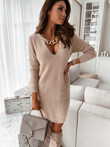 Sexy V-Neck Chain Plush Mini Dress For Women Autumn Winter Solid Color Streetwear Woman Office Slim Elegant Pullover Dresses