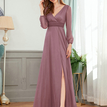 Formal-Gowns Evening-Dresses Ever Pretty Sparkle A-Line Long-Sleeve Sexy V-Neck EP00739BD