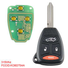 Auto Car Key Replacement 315Mhz 3+1 Buttons Car Key Remote Uncut Ignition Transponder Keyless Fob Combo KOBDT04A Fit for Dodge free shipping new replacement 2 button remote headed keylessentry ignition car fob uncut for nissan 1piece