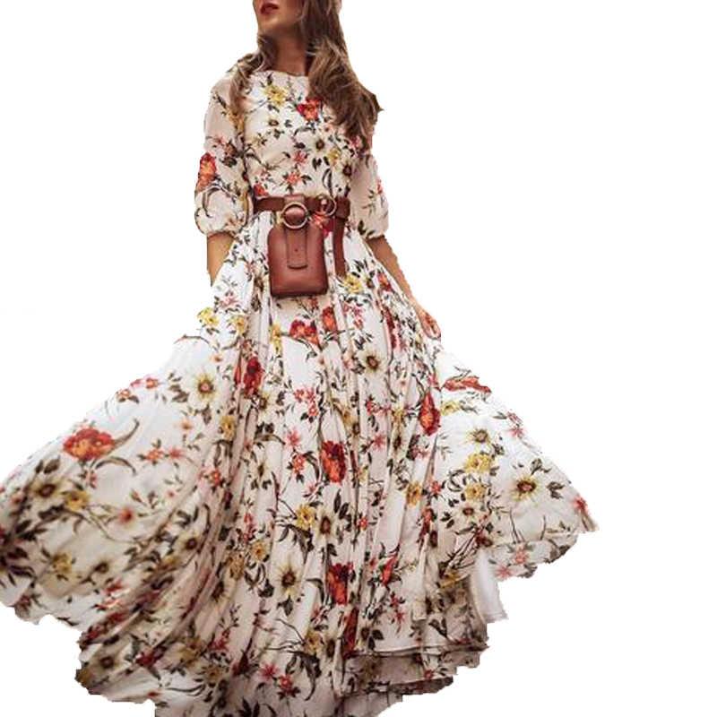חדש אופנה מכירה לוהטת נשים של מקסי Boho שמלה פרחוני הדפסה גבוהה מותן שלושה רובע שרוול ליידי קיץ החוף ארוך שמלה קיצית S-xl
