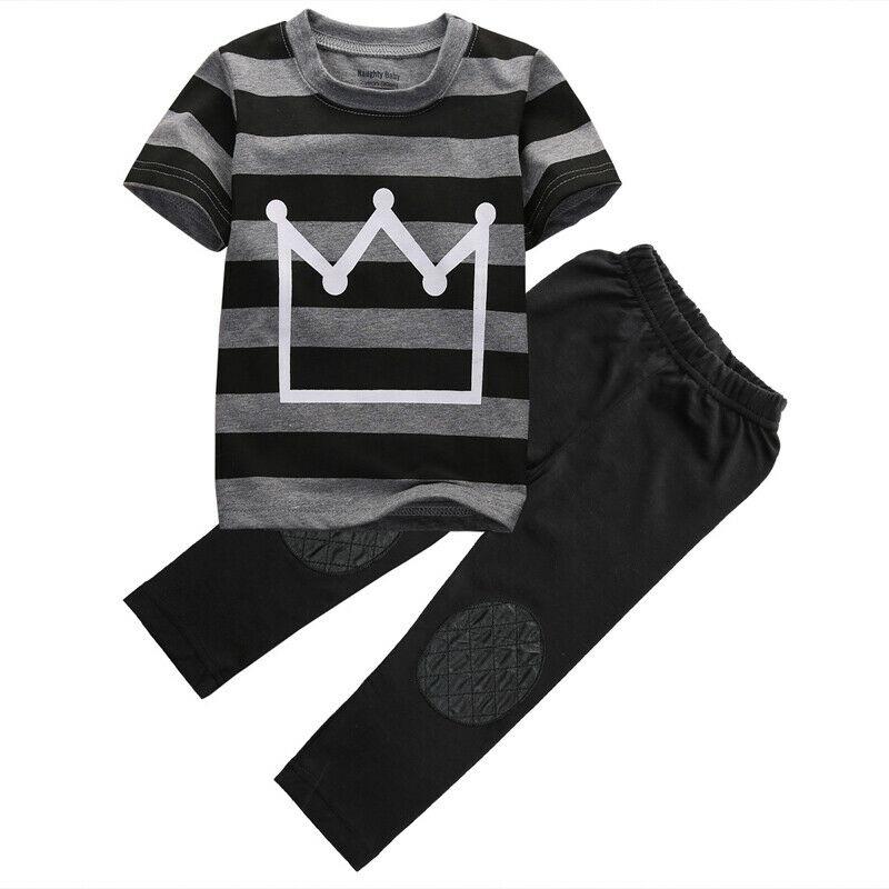 Summer Toddler Baby Kids Boys Cartoon Eyes T-shirt Tops+Stripe Pant Outfit Set D