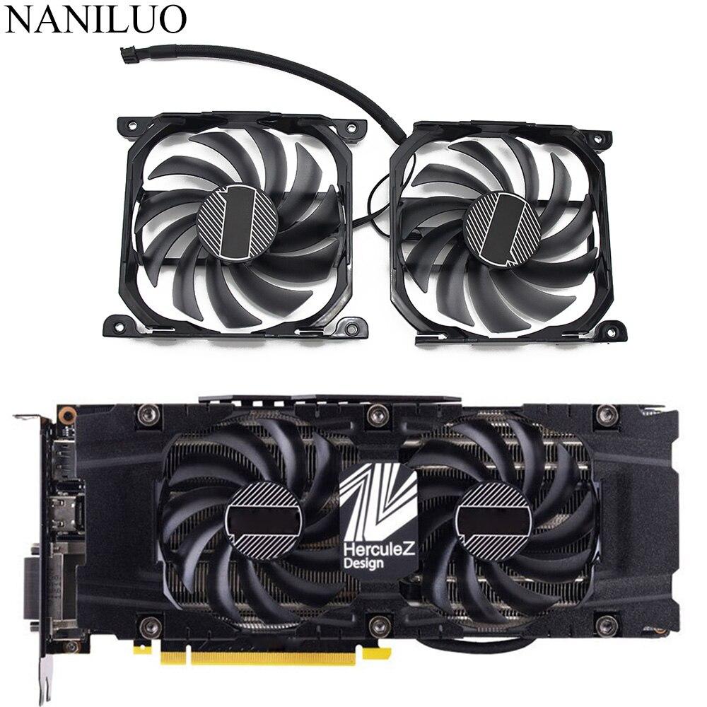 2 pçs/set CF 12915S P104 100 1070ti 1080ti gpu cartão refrigerador ventilador para inno3d geforce gtx 1070 1080 ti twin x2 placa gráfica|Ventiladores e resfriadores|   -