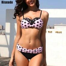 Riseado Sexy Lace Polka Dot Bikinis Push Up Swimsuit 2020 Ruched Swimwear Women Pink Brazilian Summer Beach Wear