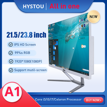HYSTOU-ordenador de escritorio monobloque todo en uno, Monitor de 23,8 pulgadas, i3 procesador Intel Core i5 i7 para Gaming Office, precio de fábrica