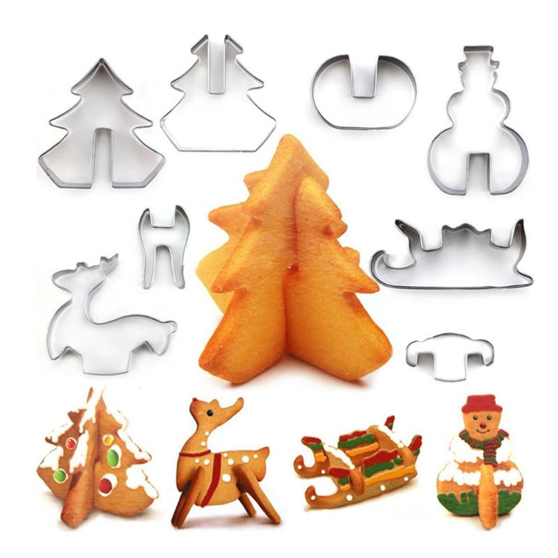 4/6/8Pcs Mini Cookie Cutter Set Stainless Steel Biscuit Cookie Mold Christmas Pastry Cutters Slicers Kitchen Baking Tools