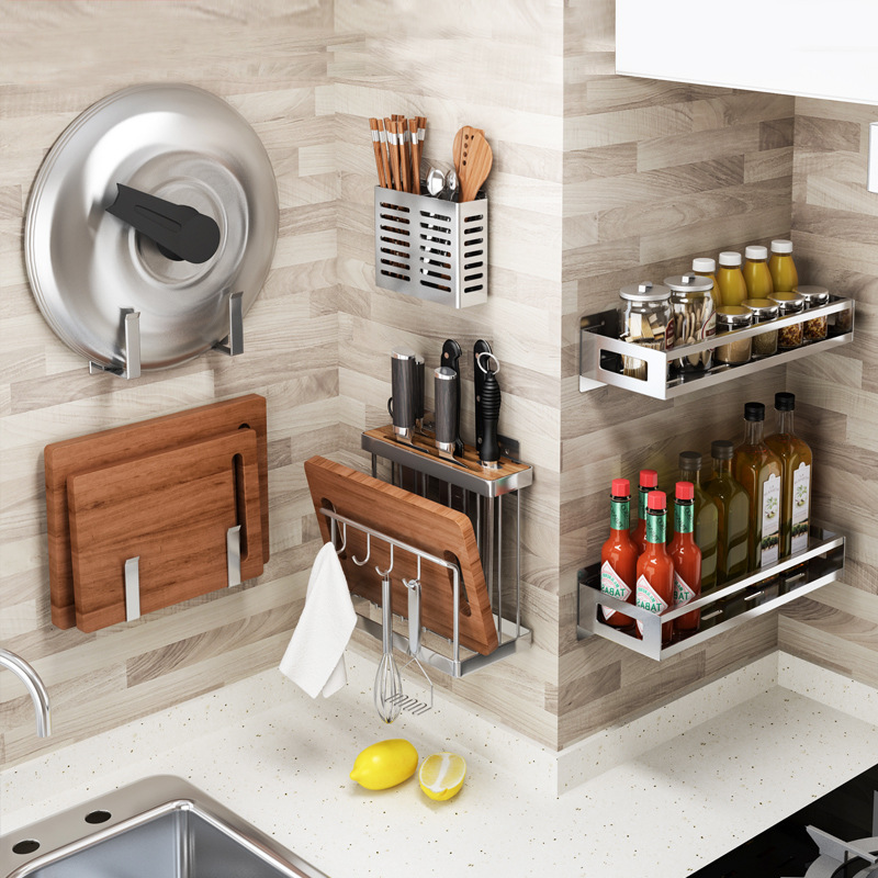Stainless Steel Kitchen Rack Wall-mounted Spice Rack Knife Holder Punching Cutting Board Pot Lid Multifunctional Chopsticks Cage