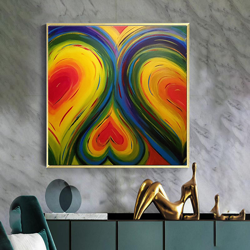 Hot Selling Abstract Heart Love Posters Canvas Painting wall art ...