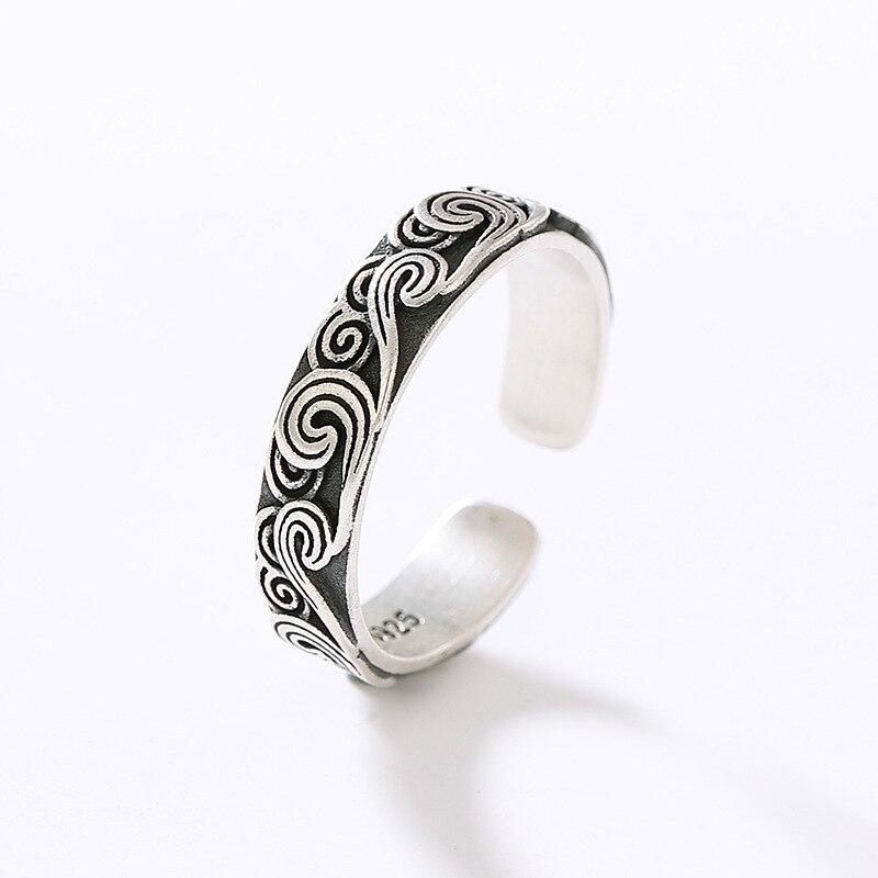 Винтажный античный серебряный Цвет кольцо с облаком, в стиле панк, в стиле «хип-хоп» в ретро-стиле муар регулируемые Открытые Кольца для жен...