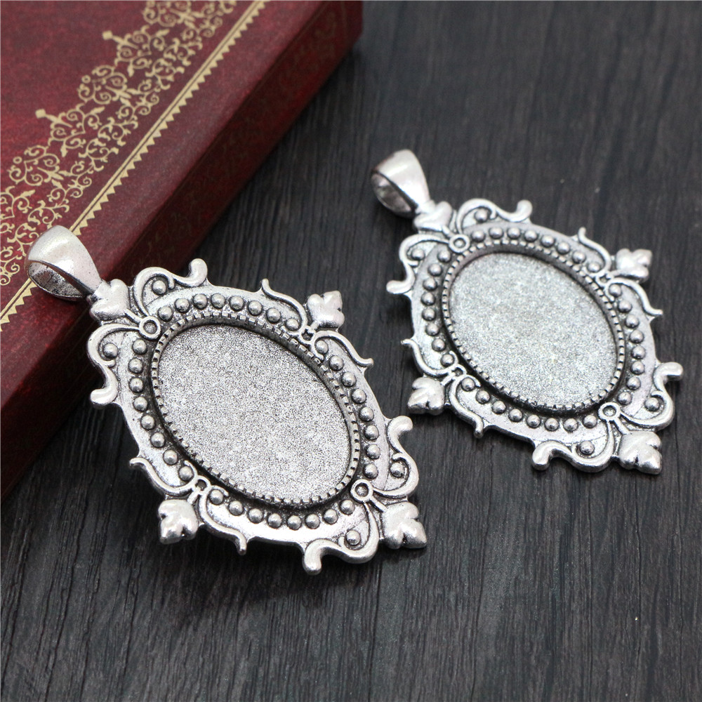 2pcs 18x25mm Inner Size Antique Silver Plated Flowers Style Cameo Cabochon Base Setting Pendant Necklace Findings  (C2-17)