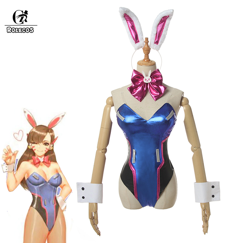 ROLECOS Game OW DVA Cosplay Sexy Costume Over DVA Watch Cosplay Leather Jumpsuit Hana Song Bunny Girl Cosplay Romper Women