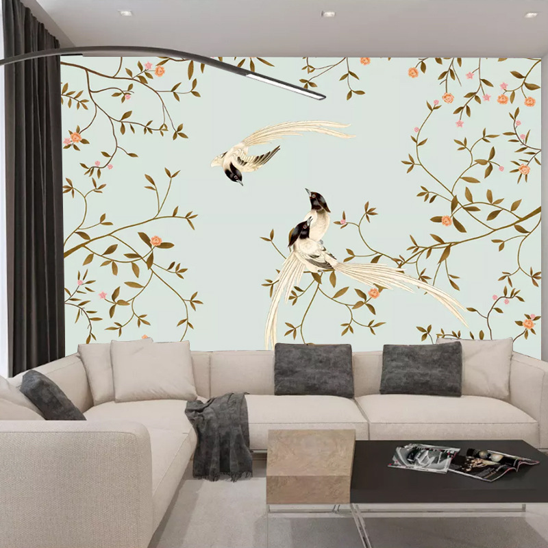 New Chinese Style Simple Hand-Painted Flowers And Birds TV Backdrop Decorative Painting Material High-definition Fine Brushwork