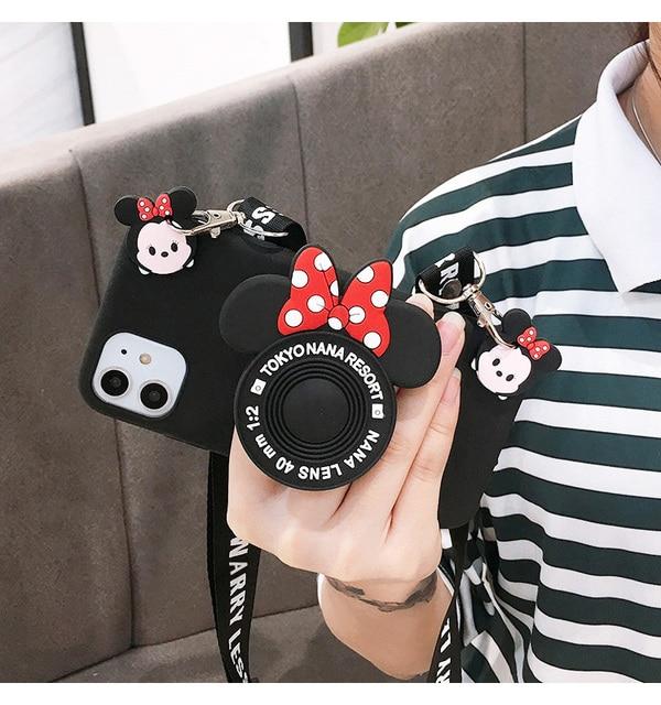 3D Cartoon Minnie Camera Bracket phone Case For Samsung Galaxy A5 A7 2017 A6 A8 Plus 2018 A9 2019 j8 j7 j2 prime Rope Crossbody