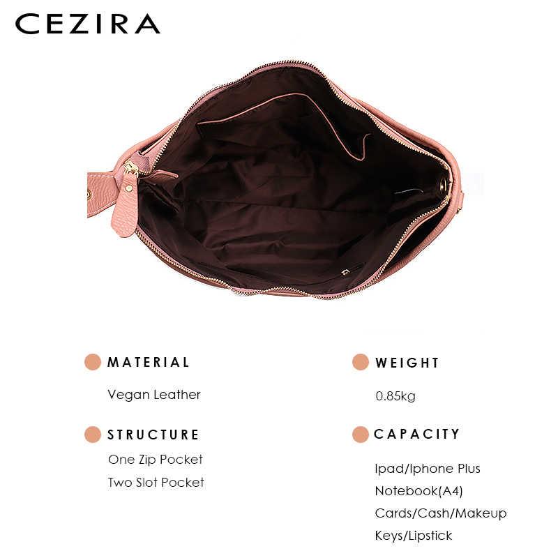 CEZIRA дизайн веганская кожаная тканая сумка для женщин Высокое качество Pu женская большая сумка через плечо и Хобо модная большая сумка женская сумка через плечо