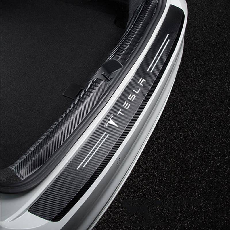 Стикер для автомобиля Tesla Model 3 Y, S X 4 шт., украшение для двери из искусственной кожи, защита модификации, автомобильные аксессуары
