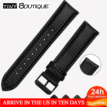 20mm 22mm Carbon Fiber Quick Release Luxury Black  Leather Watch Strap Band For Gear S3 S2 Classic Width Replacement - discount item  15% OFF Watches Accessories