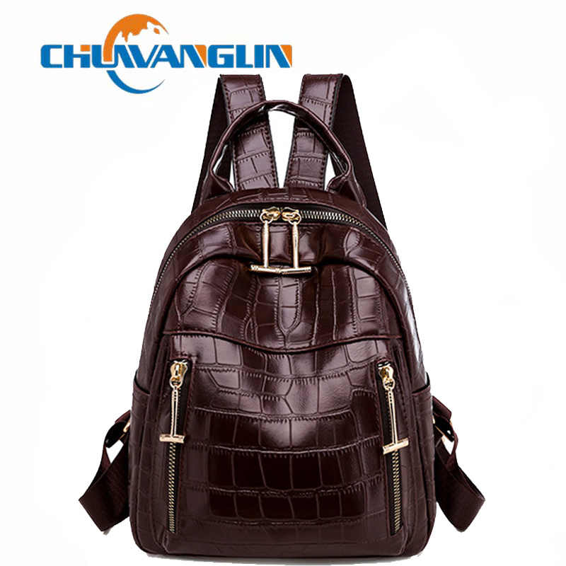 Chuwanglin Vrouwen Lederen Rugzak Dames Krokodil Pu Schoudertas Vintage School Travel Mini Bagpack Vrouwelijke Mochilas T121705